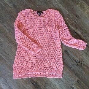 Dana Buchman Orange Open Knit 3/4 Sleeve Sweater